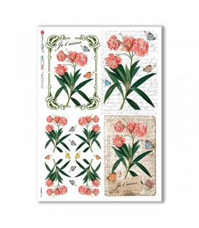FLOWERS-0362. Carta di riso fiori per decoupage.