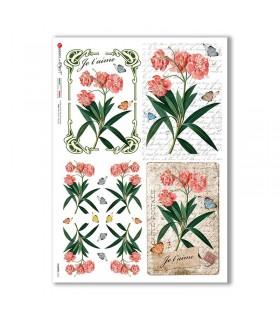 FLOWERS-0362. Papel de Arroz flores para decoupage.