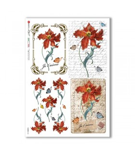 FLOWERS-0363. Carta di riso fiori per decoupage.