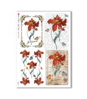 FLOWERS-0363. Papel de Arroz flores para decoupage.