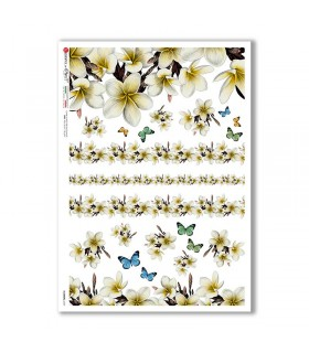 FLOWERS-0369. Carta di riso fiori per decoupage.