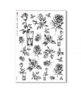 FLOWERS-0370. Papel de Arroz flores para decoupage.