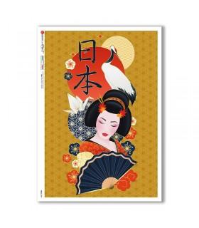 FOLK-0090. Carta di riso etniche per decoupage.