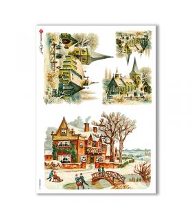 CHRISTMAS-0215. Papel de Arroz Navidad victoriano para decoupage.