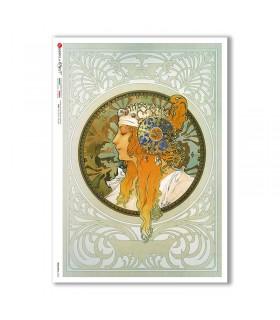 NOUVEAU-0022. Art nouveau Rice Paper for decoupage.