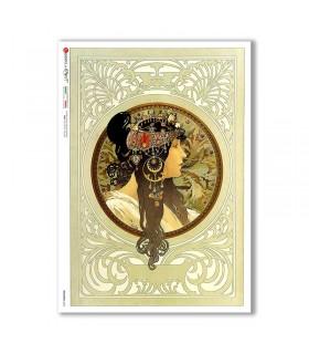 NOUVEAU-0023. Art nouveau Rice Paper for decoupage.