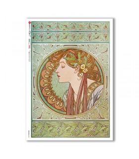 NOUVEAU-0024. Art nouveau Rice Paper for decoupage.