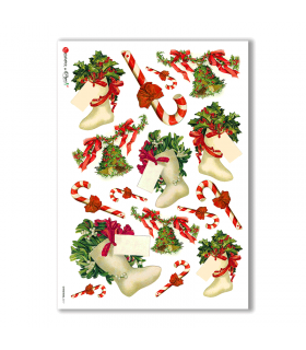 CHRISTMAS-0217. Carta di riso vittoriana Natale per decoupage.