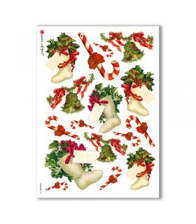 CHRISTMAS-0217. Papel de Arroz Navidad victoriano para decoupage.
