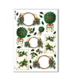 CHRISTMAS-0218. Carta di riso vittoriana Natale per decoupage.