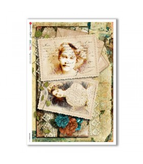 OLD-PHOTOS-0101. Victorian Rice Paper for decoupage.