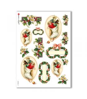 CHRISTMAS-0219. Carta di riso vittoriana Natale per decoupage.