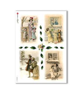 CHRISTMAS-0220. Carta di riso vittoriana Natale per decoupage.
