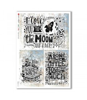 PHRASES-0033-UK. Papel de Arroz frases para decoupage.