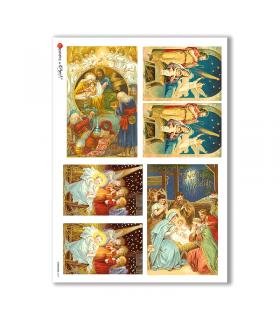 CHRISTMAS-0221. Carta di riso vittoriana Natale per decoupage.