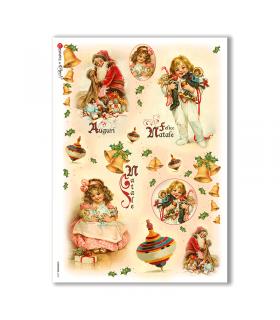 CHRISTMAS-0222. Carta di riso vittoriana Natale per decoupage.