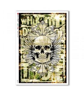 SKULL-0014. Skull Rice Paper for decoupage.
