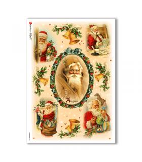 CHRISTMAS-0223. Carta di riso vittoriana Natale per decoupage.
