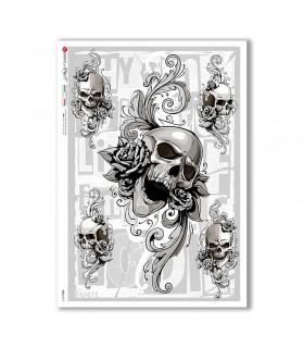 SKULL-0019. Skull Rice Paper for decoupage.