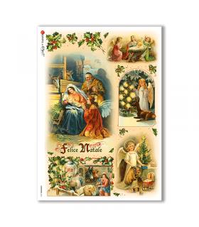 CHRISTMAS-0224. Carta di riso vittoriana Natale per decoupage.