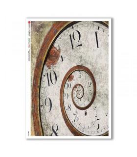 TIME-0024. Papel de Arroz relojes para decoupage.