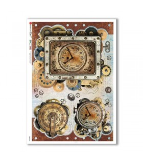 TIME-0026. Papel de Arroz relojes para decoupage.