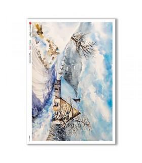 VIEWS-0165. Carta di Riso paesaggi per decoupage