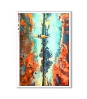 VIEWS-0173. Carta di Riso paesaggi per decoupage