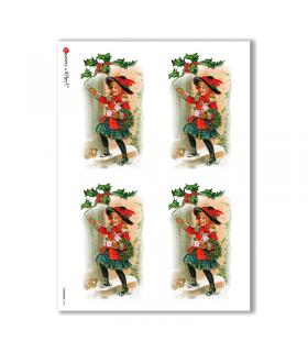 CHRISTMAS-0229. Papel de Arroz Navidad victoriano para decoupage.