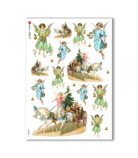 CHRISTMAS-0228. Carta di riso vittoriana Natale per decoupage.