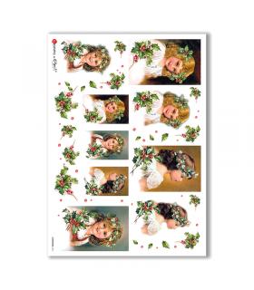 CHRISTMAS-0231. Papel de Arroz Navidad victoriano para decoupage.