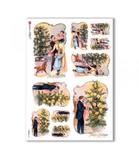 CHRISTMAS-0232. Papel de Arroz Navidad victoriano para decoupage.