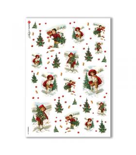 CHRISTMAS-0233. Papel de Arroz Navidad victoriano para decoupage.