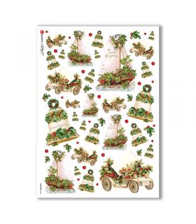 CHRISTMAS-0236. Carta di riso vittoriana Natale per decoupage.