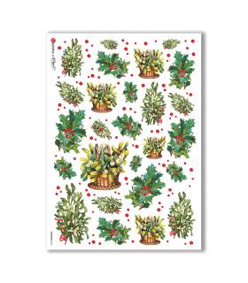 CHRISTMAS-0237. Carta di riso vittoriana Natale per decoupage.