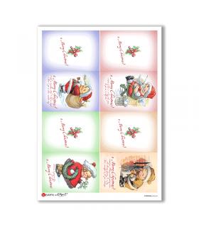 CHRISTMAS-0240-UK. Carta di riso vittoriana Natale per decoupage.