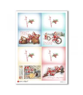 CHRISTMAS-0242-UK. Carta di riso vittoriana Natale per decoupage.