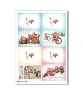 CHRISTMAS-0242. Carta di riso vittoriana Natale per decoupage.
