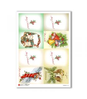 CHRISTMAS-0243-UK. Carta di riso vittoriana Natale per decoupage.
