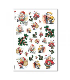 CHRISTMAS-0244. Carta di riso vittoriana Natale per decoupage.