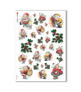 CHRISTMAS-0244. Papel de Arroz Navidad victoriano para decoupage.