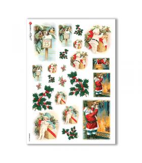 CHRISTMAS-0245. Carta di riso vittoriana Natale per decoupage.