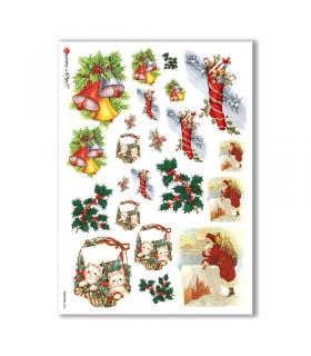 CHRISTMAS-0246. Carta di riso vittoriana Natale per decoupage.