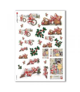 CHRISTMAS-0247. Carta di riso vittoriana Natale per decoupage.