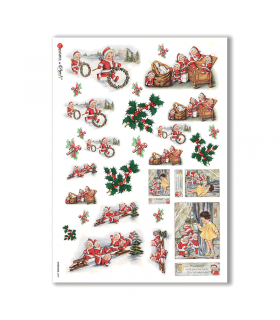 CHRISTMAS-0247. Papel de Arroz Navidad victoriano para decoupage.