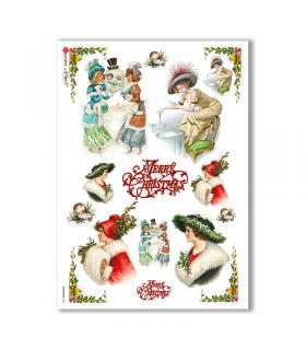 CHRISTMAS-0251. Carta di riso vittoriana Natale per decoupage.