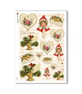 CHRISTMAS-0252. Carta di riso vittoriana Natale per decoupage.