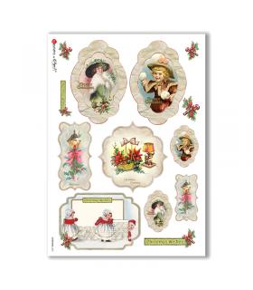 CHRISTMAS-0253. Papel de Arroz Navidad victoriano para decoupage.