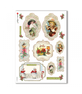 CHRISTMAS-0253. Christmas Rice Paper victorian for decoupage.