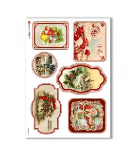 CHRISTMAS-0254. Carta di riso vittoriana Natale per decoupage.